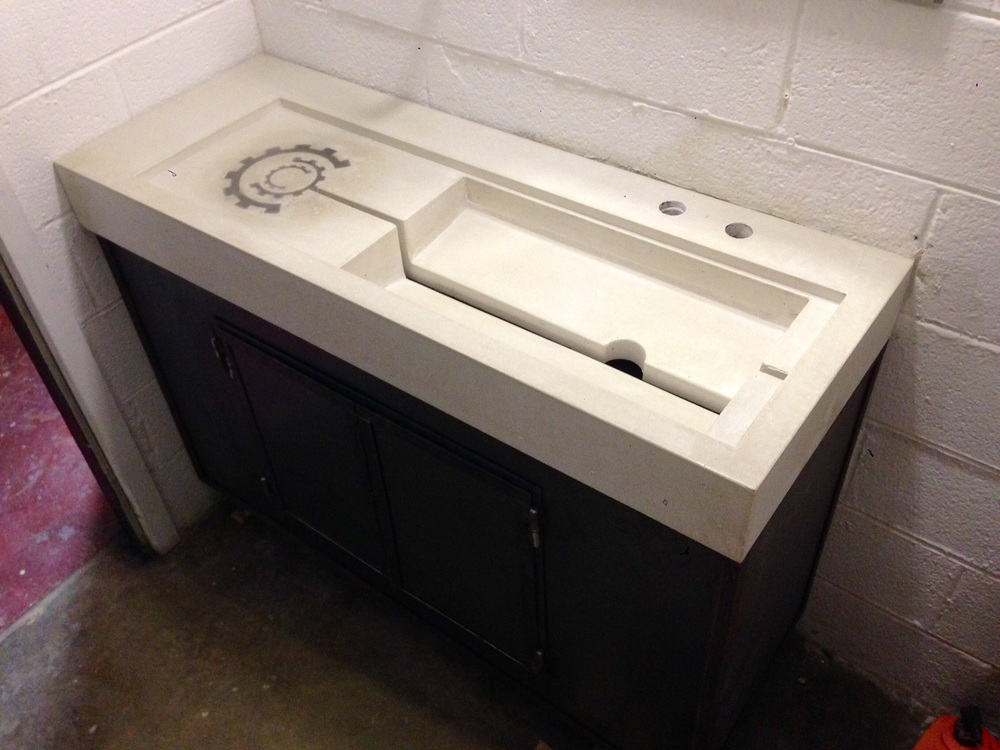 Bon The Sink In Place, On Top Of A Custom Fabricated Metal Cabinet.