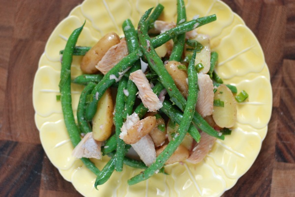 green bean potato salad with trout