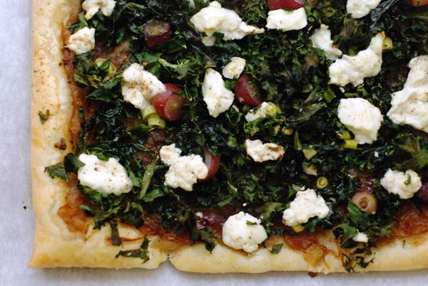 kale and grape tart