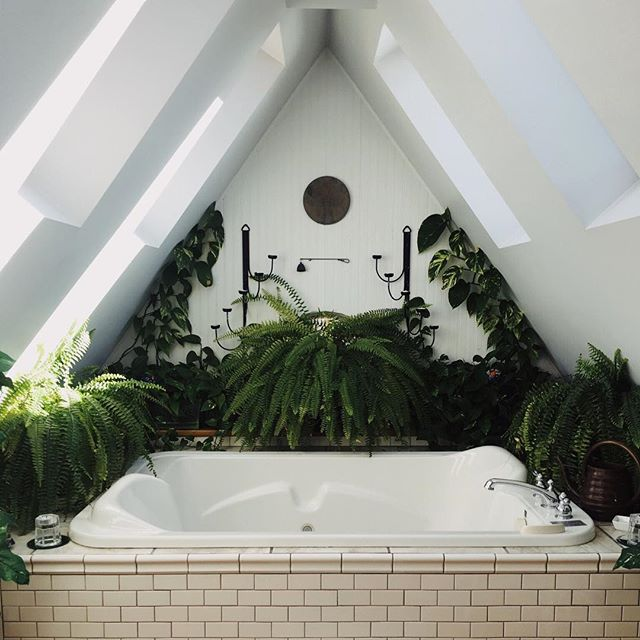 Imagining a cool soak in this jungle of a bathroom right about now... 💦🌿 #bathgoals #soakingforselfcare