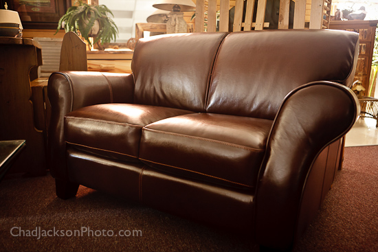 chocolate brown leather consignment loveseat