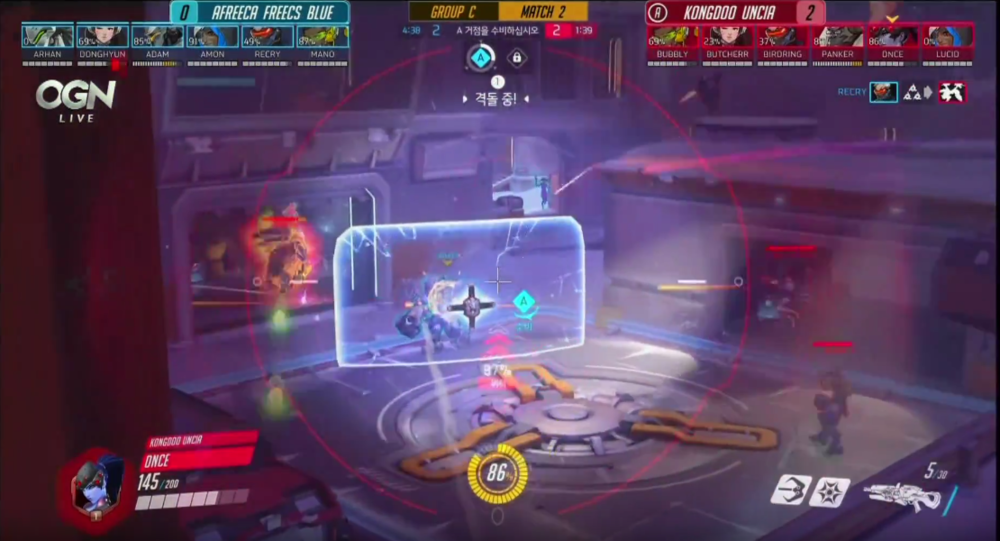 A new Overwatch viewer might look at this and have to really think about why the enemy Reinhardt's shield is blue when as a player the enemy shield is always red.