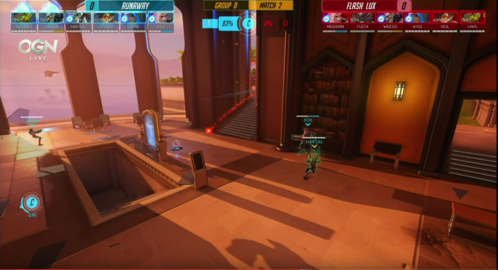You probably can't see it but this is a screen shot from OGN Apex Season two and Flash Lux's character outlines are are in fact appearing here but they are tough to see due to the red color scheme and the colors of Oasis. Look closely at the bookcase.