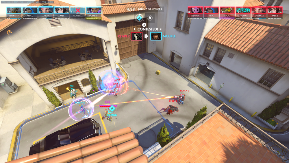 This is a very amateur mock-up of what I envision the spectator overlay to look like. Take note of the centered and enlarged killfeed, the biotic grenade effects to the health bars of Lucio and Sombra, the hacked Reaper, and the frozen Roadhog. I'm no artist or photoshop master so I implore you to use your imagination.