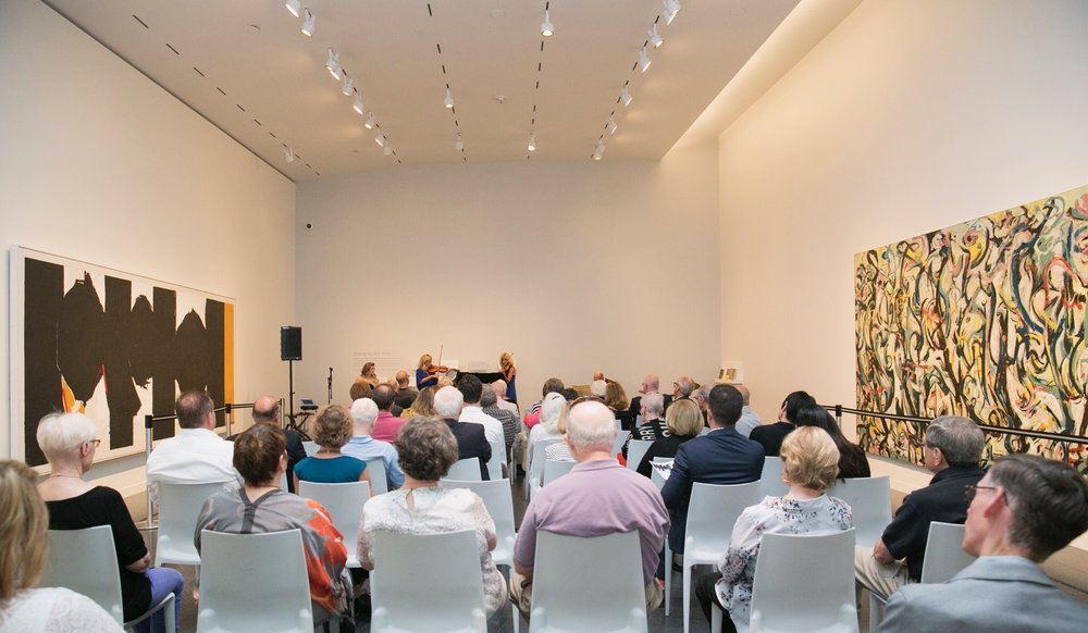 "On August 10, 2017, Sherèe Lutz of the Contemporary Art Department performed with Uptown Violins to highlight the musical connections to Abstract Expressionist legends Jackson Pollock and Robert Motherwell  in the exhibition, ""Pollock and Motherwell: Legends of Abstract Expressionism,"" on view in Gallery L8 at the Nelson-Atkins Museum of Art, Kansas City, MO. The exhibition is on view from July 8 through October 29, 2017. Photographer / Ashley Elwell"