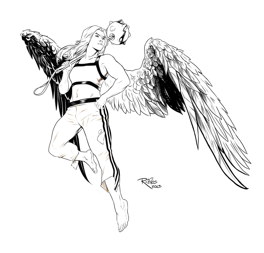 coloring pages hawkgirl | Sketch & Ink — Nick Robles Art