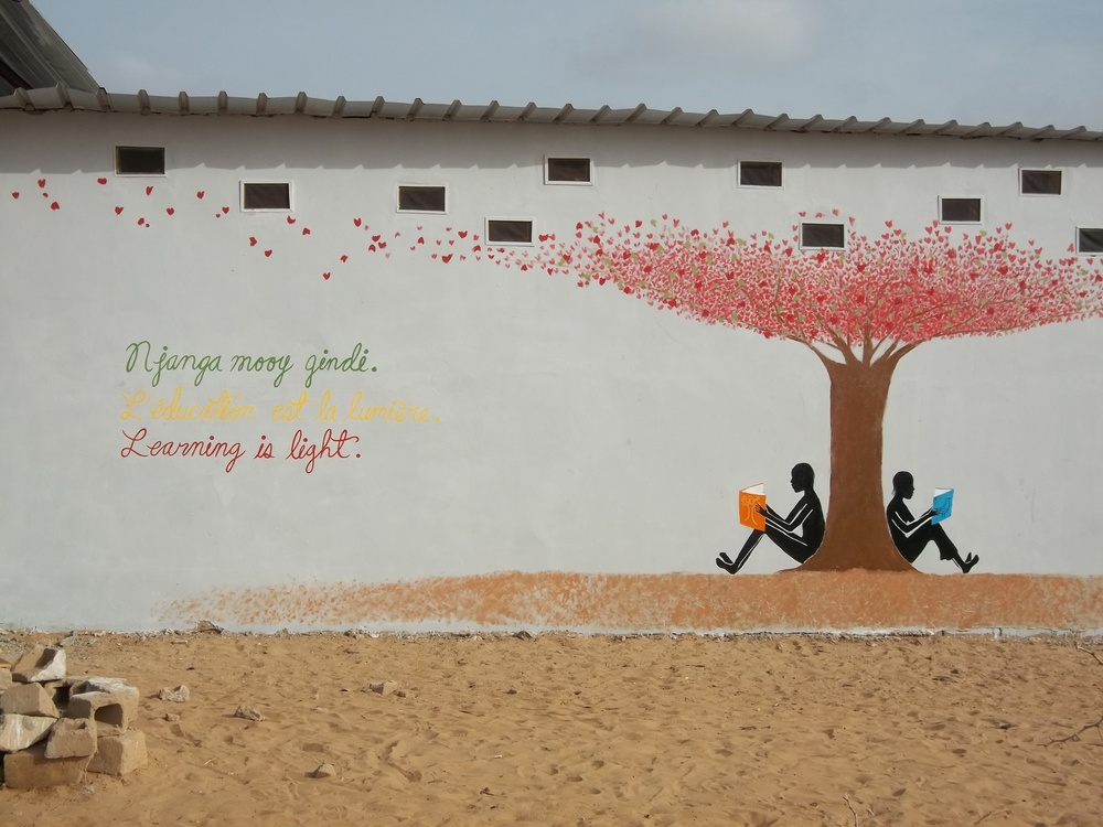 Mural designed in collaboration with local teacher Moustapha