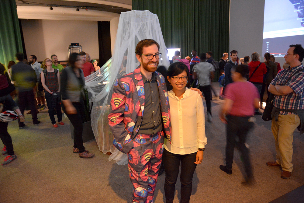 "Joseph Burg models ""$900 tent"" suit. Sewing coordination by Mai Nguyen Hart."