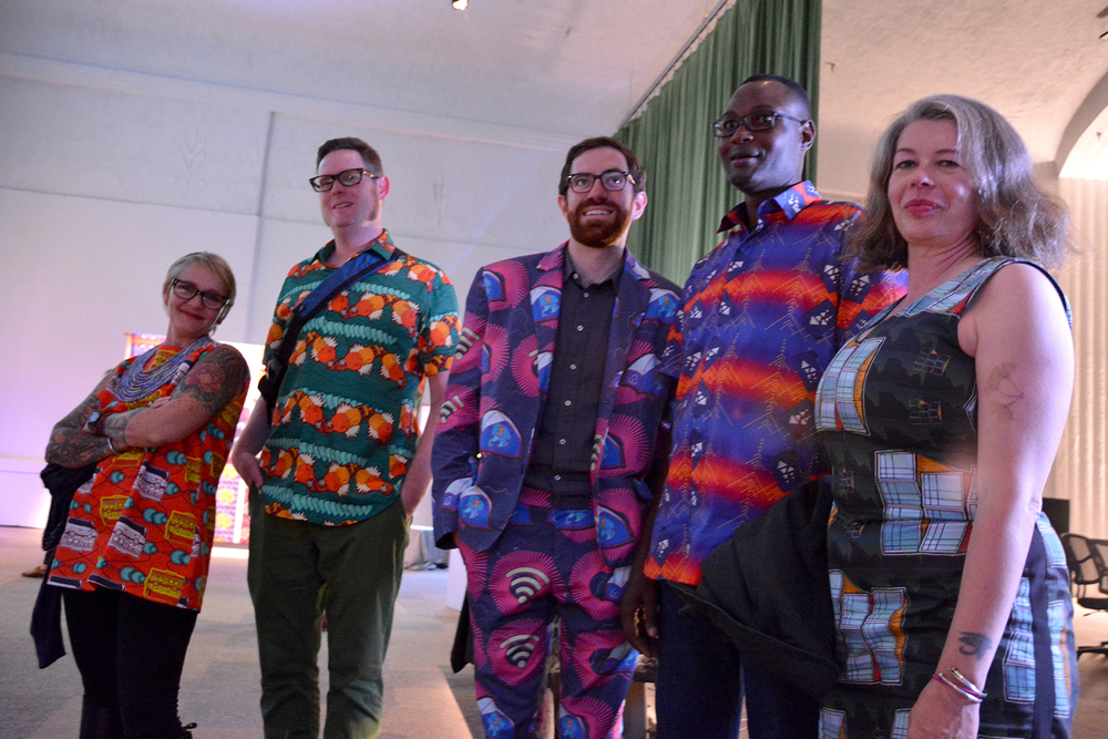 Alice Clifford, Myself, Joseph Burg, Youssou Fall, and Mel. Alice Designed and made her outfit all other sewing in this image coordinated by Mai Nguyen Hart.