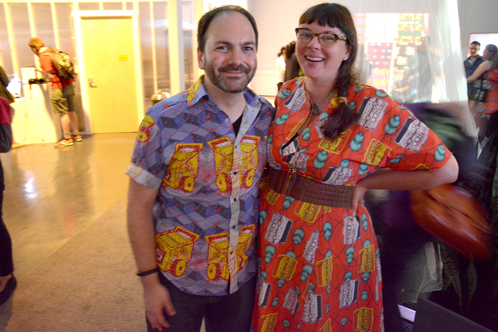 Matt Ganucheau  and  Rachel Weidinger  show off outfits at the exhibition. Outfits created by Rachel.