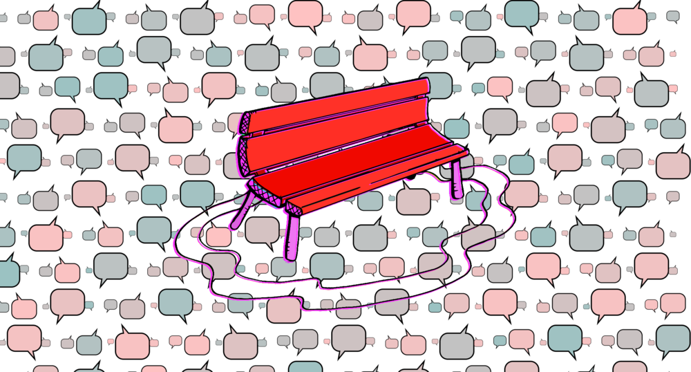 Bench and Word Bubble #1: Data represented as word bubbles.