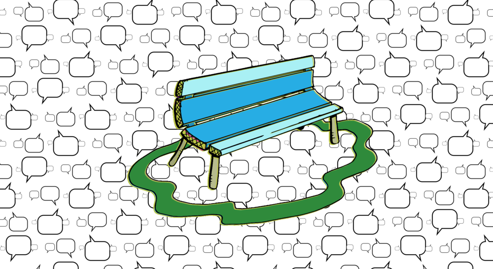 Bench and Word Bubble #2: Data represented as word bubbles.