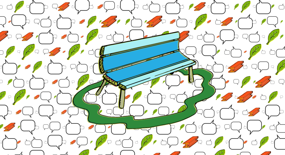 Bench with Word Bubbles, Leaves and Steel : Data represented as word bubbles.