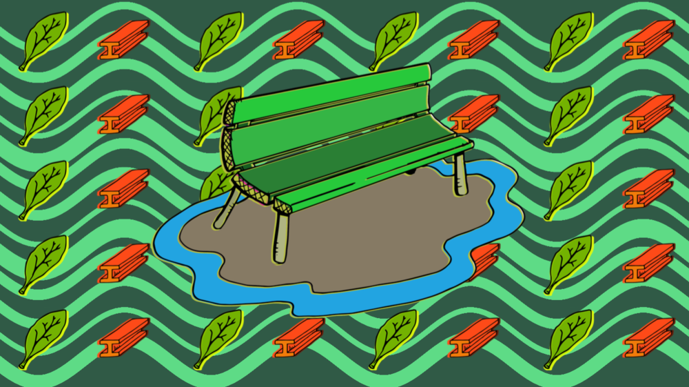 Bench with Leaves and Steel  : Data represented as sine waves.