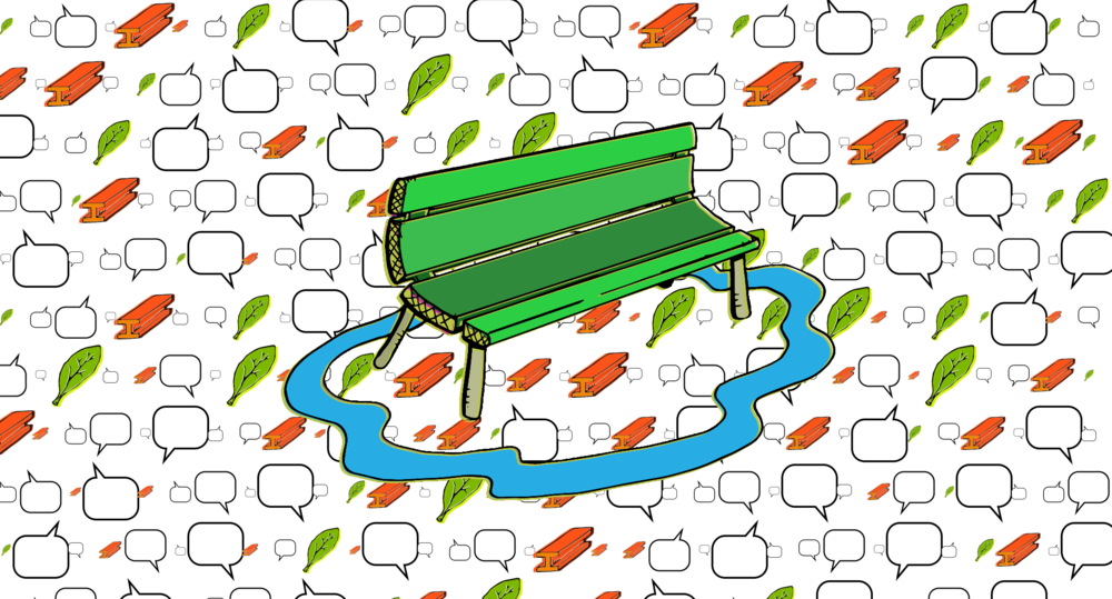 Bench with Word Bubbles, Leaves and Steel #2 : Data represented as word bubbles.