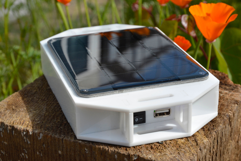 Kelby's 2-watt portable solar battery pack with USB charging ability.