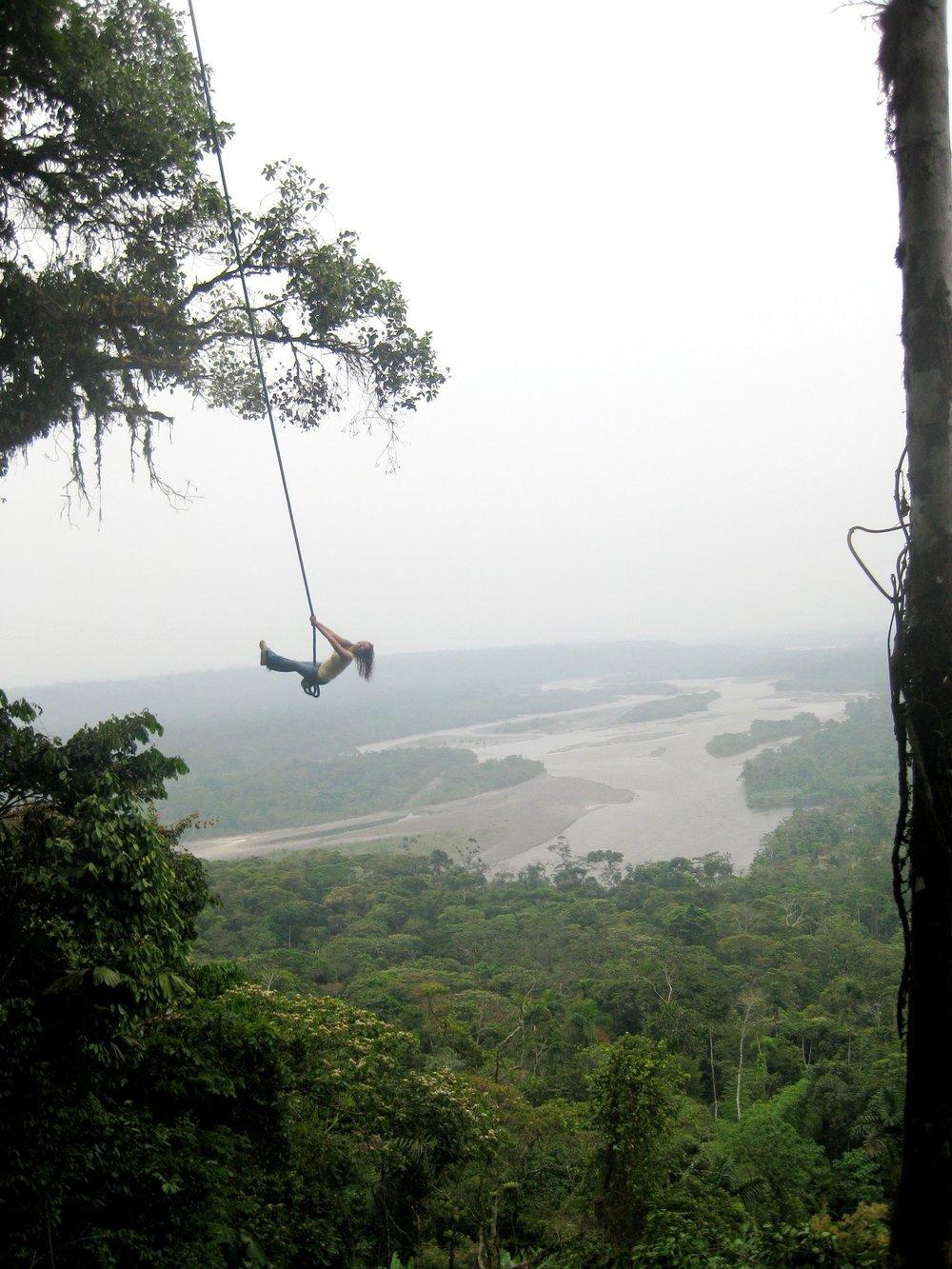Dr. Nikki swinging over the Amazon Rainforest, 2009