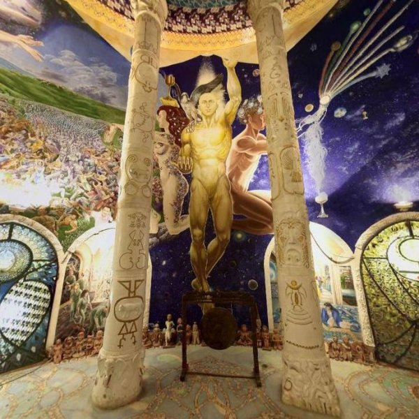 Hall of Victory in Damanhur's Temple of Humankind, depicting the isogynic human, balanced in masculine and feminine.