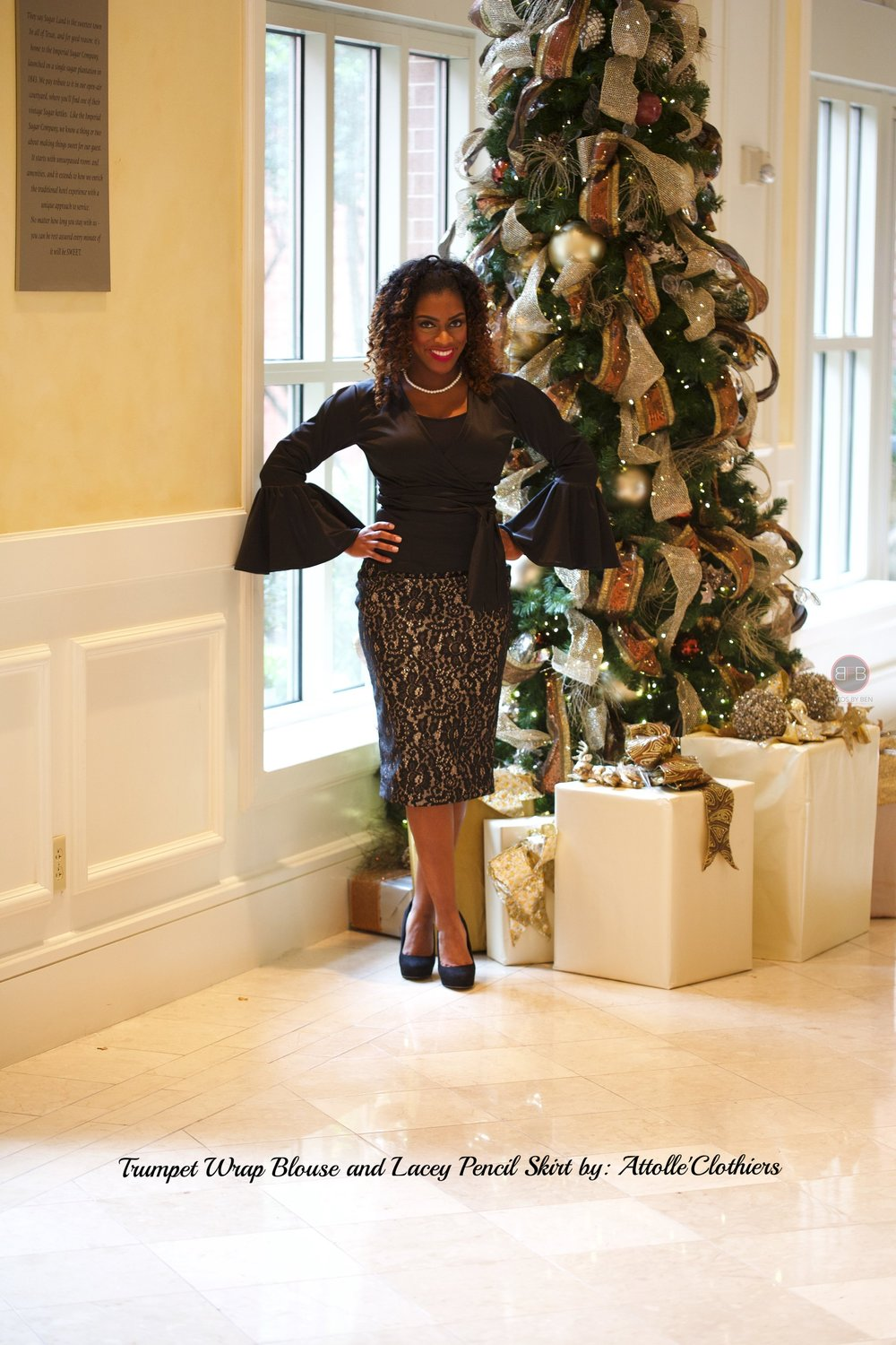 Trumpet Sleeve Wrap Blouse & Lacey Pencil Skirt by: Attolle Clothiers---get it here  www.attolleclothiers.com