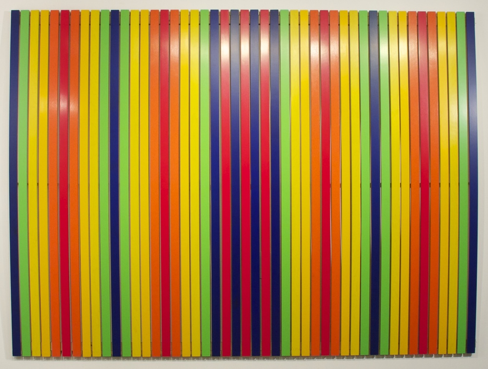 "Stripes: Acrylic on plywood, 2011-2013, 6"" x 8'"