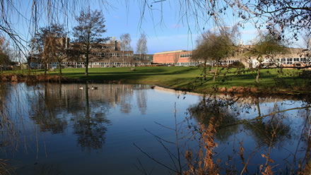 The pond of the Cavendish Laboratory, University of Cambridge.