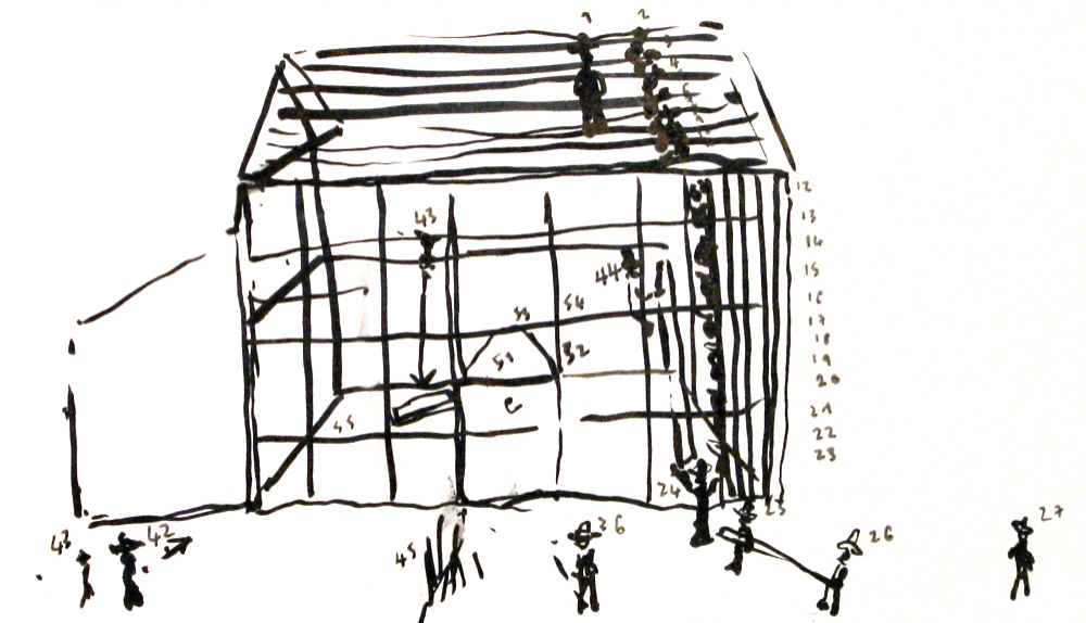 drawing from memory of an Amish barnraising