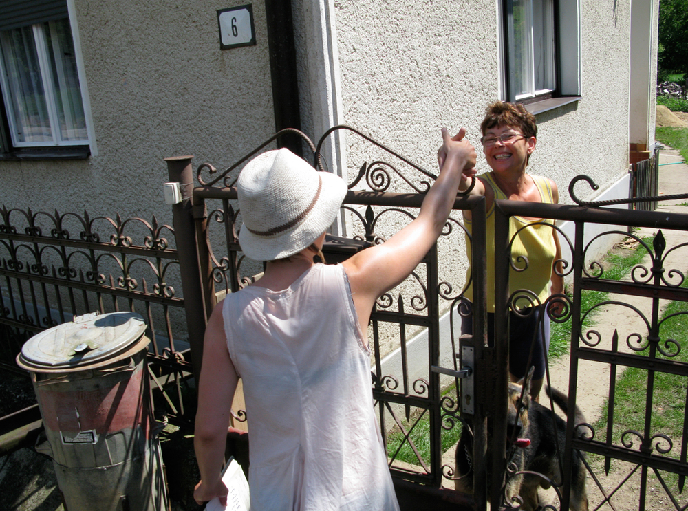 Lenka meeting the villagers of Lenka, Slovakia