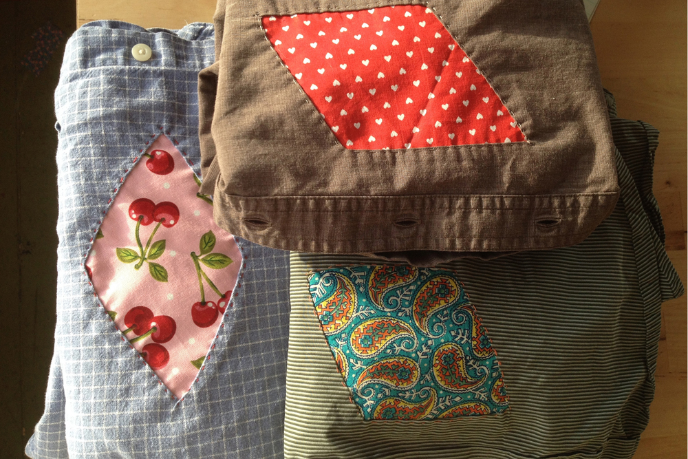 Each patch is hand-sewn on with tiny stitches that we were taught to do by our grandmothers
