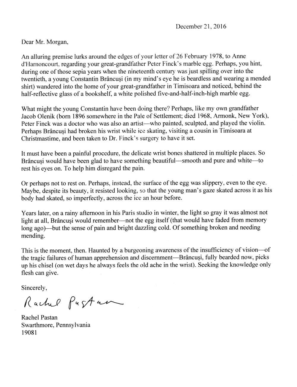 Letter from writer, Rachel Pastan