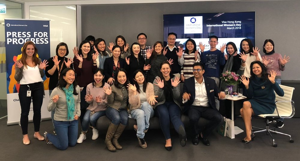 Pressing for Progress with Team Visa during International Women's Day, March 2018