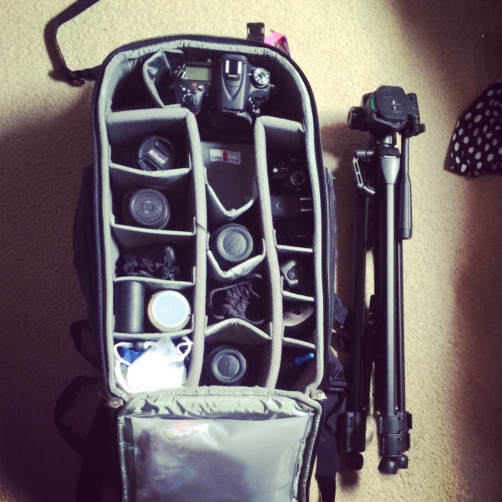 my gear packing Ina ThinkTank Streetwalker HardDrive camera backpack.