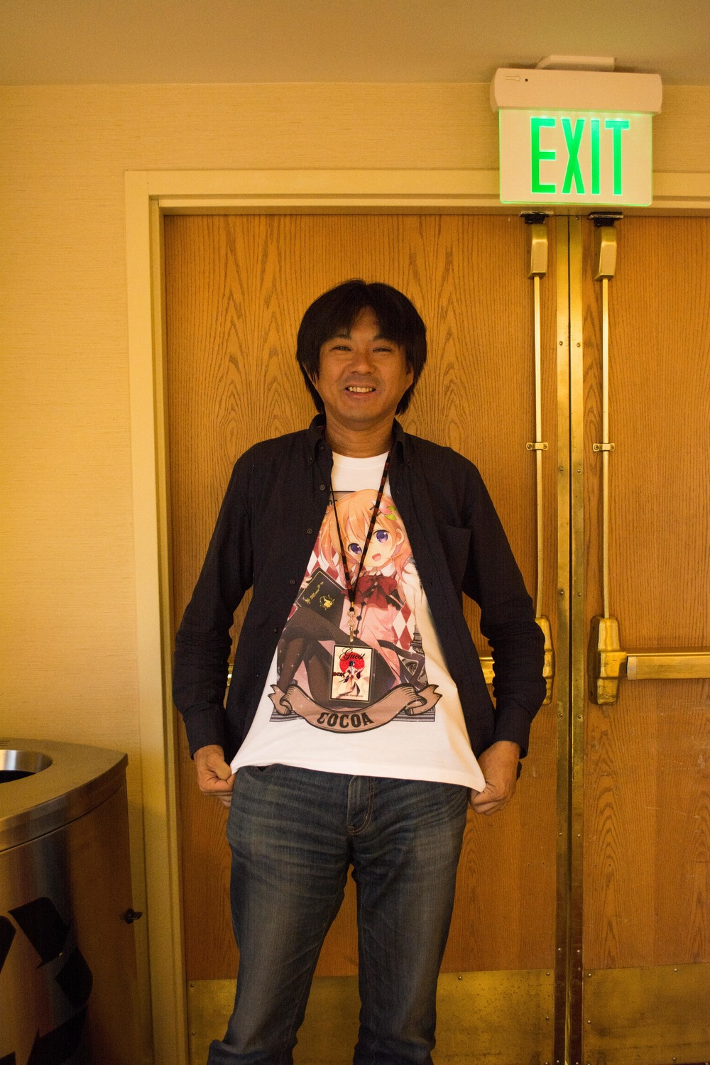 "Hiroyuki Hashimoto! Animator and director of several well known anime series. He is modeling a shirt featuring his latest anime ""Is The Order A Rabbit."