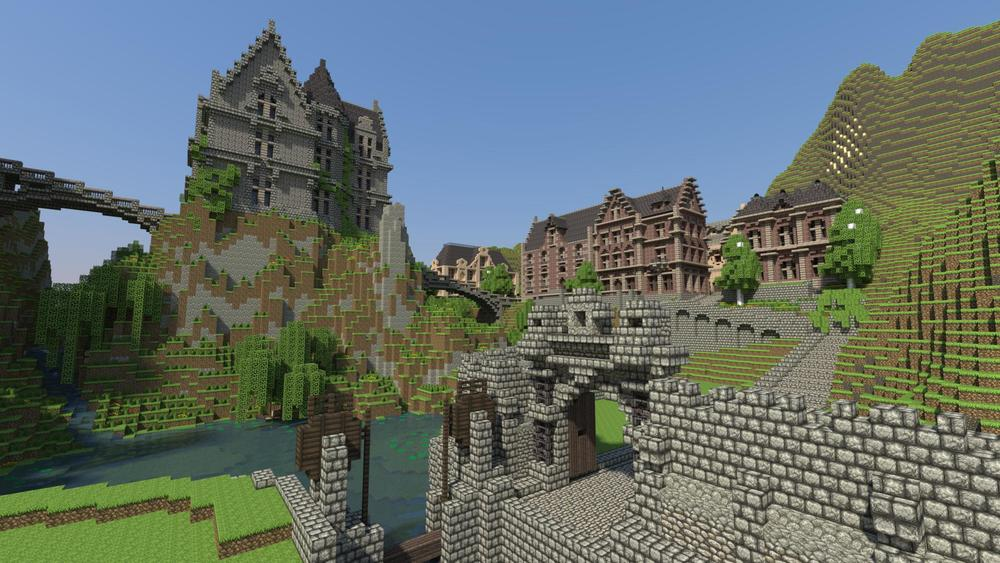 There's really no reason to build this giant Hogwarts-esque castle/villa, but the player has decided for themselves that their goal in Minecraft is to create a home for themselves that they could not in the real world.