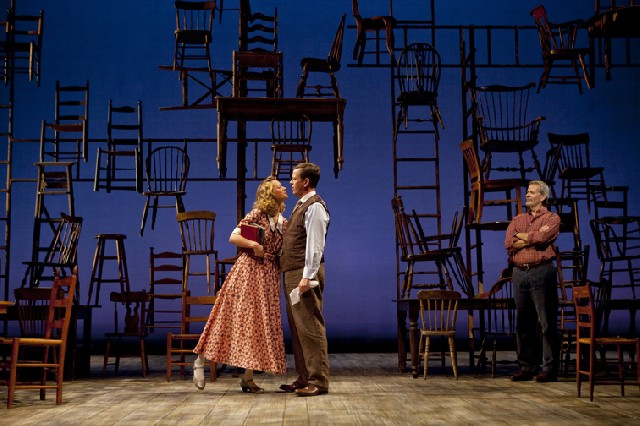 Some productions of  Our Town  are decidedly less stripped-down than the 2009 production;  this one, from the Williamstown Theater Festival in 2010, opted for period clothing and a motif  that riffs on the play's reliance on only chairs and ladders in the stage direction.