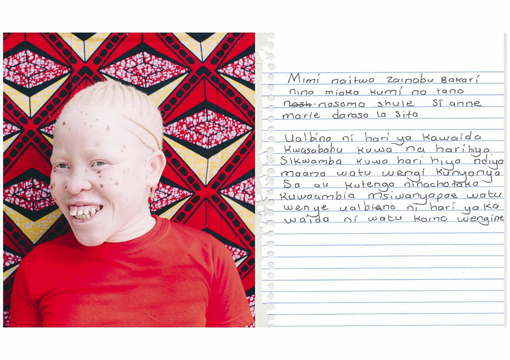 My name is Zainabu Bakari.    I am 15 years old.    I am in Standard 6 at St. Anne Marie.    Albinism is a normal condition because to have albinism is not a ticket to be discriminated or isolated. What I want to tell society is that, don't stigmatize people with albinism, it is a normal condition, we are normal people like everybody else.