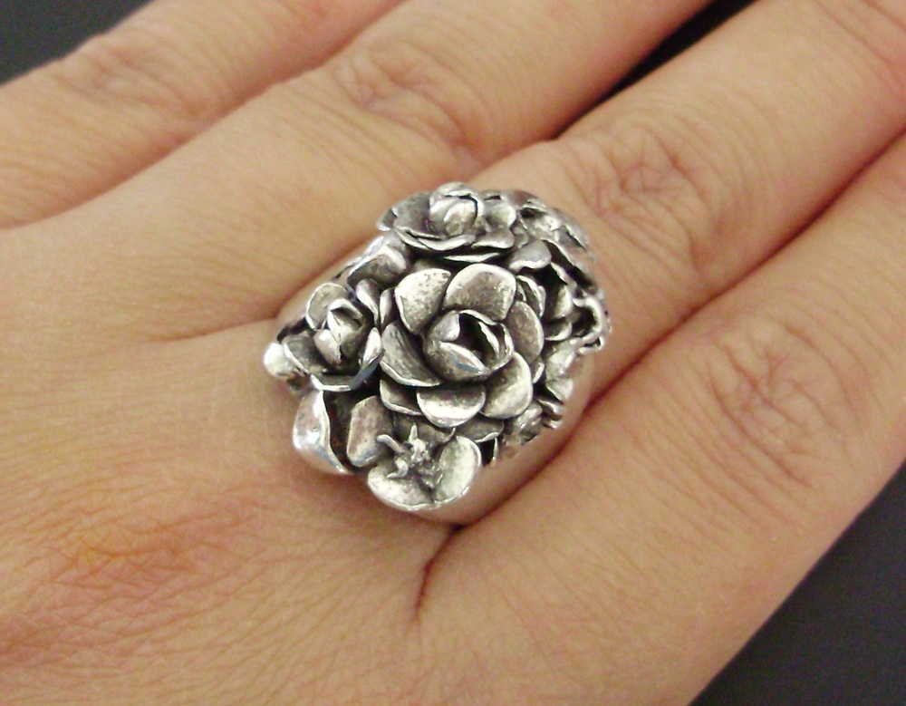 Gardenia and Poppies, Custom Ring in Sterling Silver.