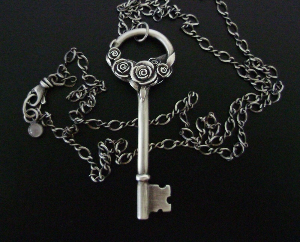 Rose Skeleton Key Necklace.