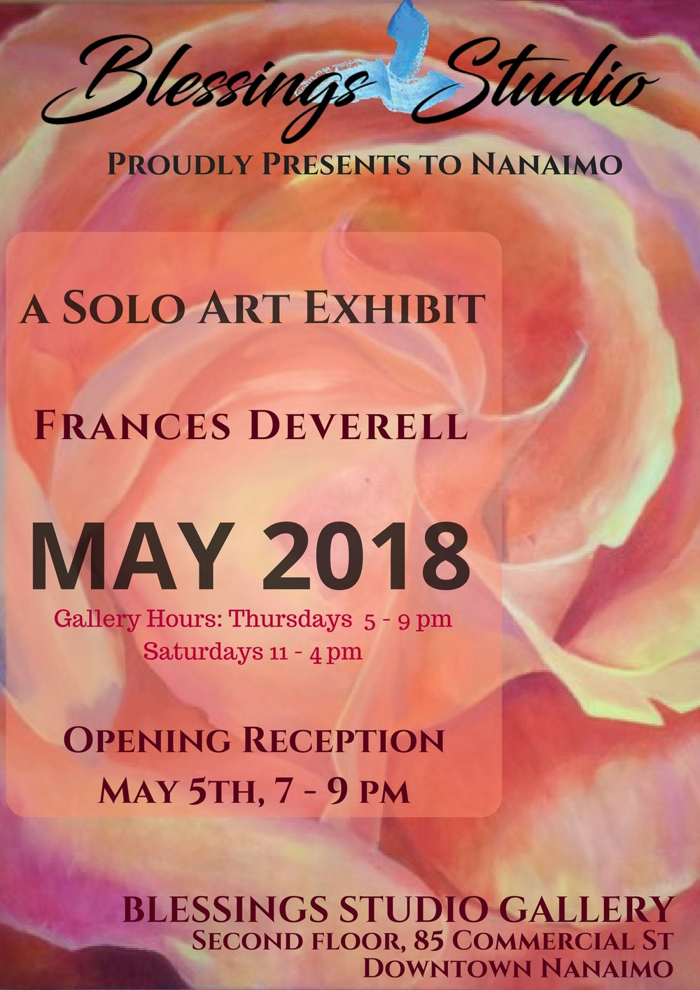 May, Feature Artist Frances Deverell - Frances uses art to connect with her inner self and with spirit. Seeking connection with the wonders of nature, the miracle of life, and with beauty. Believing we need this vision of wholeness and harmony with the earth and with life to sustain us on the justice journey.