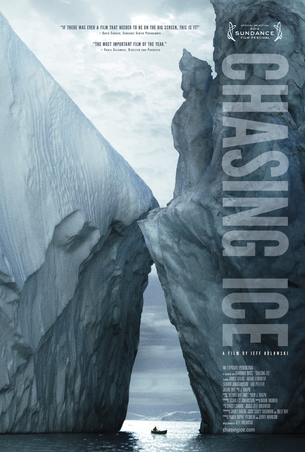Chasing Ice   is the story of one man's mission to change the tide of history by gathering undeniable evidence of our changing planet. The film captures the work of James Balog as he creates his latest project: The Extreme Ice Survey. Balog deployed revolutionary time-lapse cameras across the brutal Arctic to capture a multi-year record of the world's changing glaciers. These hauntingly beautiful videos compress years into seconds and reveal ancient mountains of ice in motion as they disappear at a breathtaking rate. You can learn more about the film at our  Chasing Ice website .