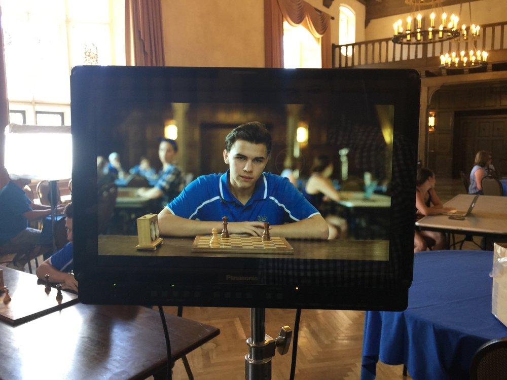 Chess prodigy Luke Harmon-Vellotti at UCLA shoot for 160over90 commercial. Matt Boatright-Simon director.
