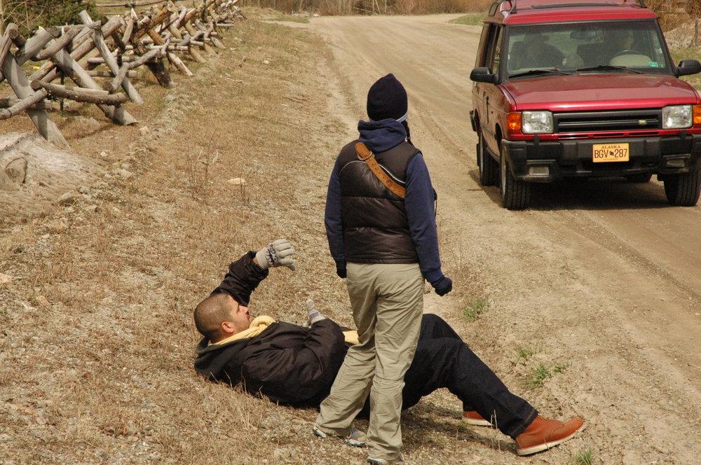 Matt Boatright-Simon and Tarin Anderson framing up a shot on location in Telluride, CO