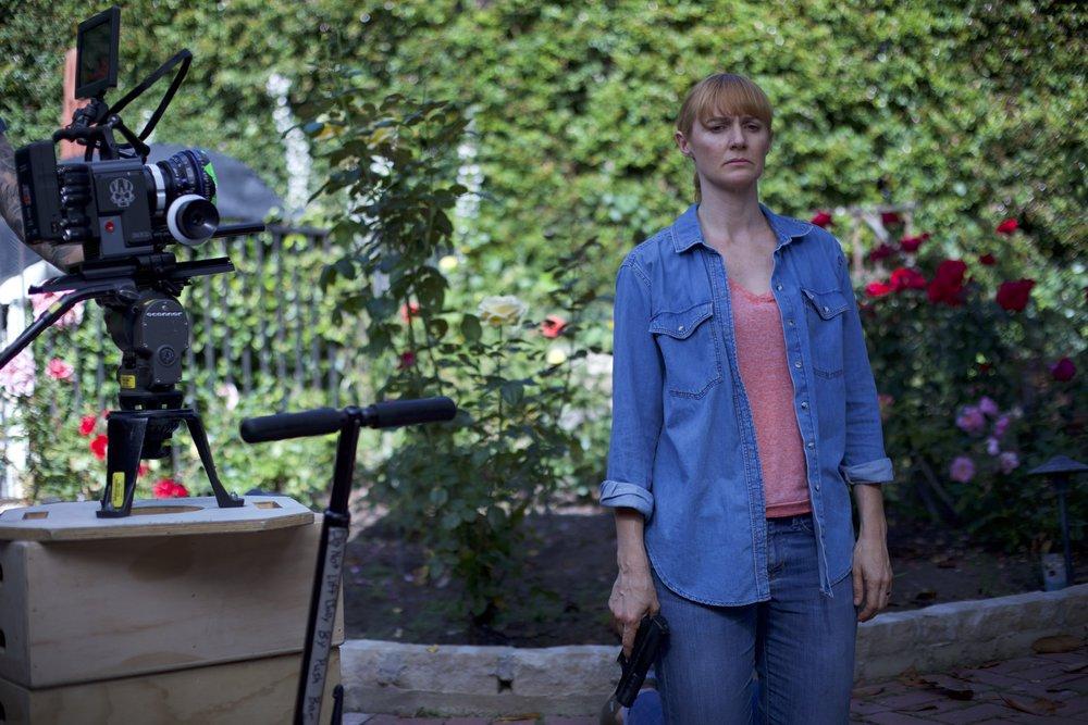 "Francesca Manzi on set of ""JC"", a new vision of Shakespeare's Julius Caesar. Director Matt Boatright-Simon"