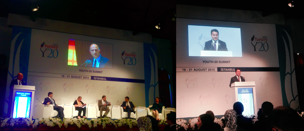 Left: all the G20 engagement groups representatives. Right: Turkey's Deputy Prime Minister addressing the Y20 Summit audience