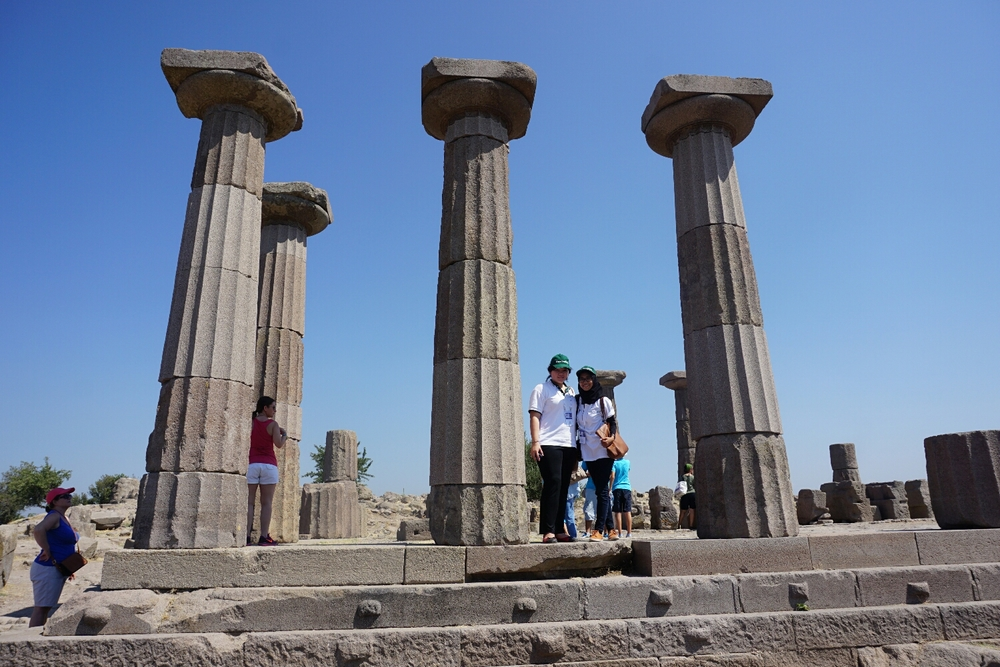 Ruins of the Temple of Athena at ancient city ofAssos, located on top of the hill at Behramkale village