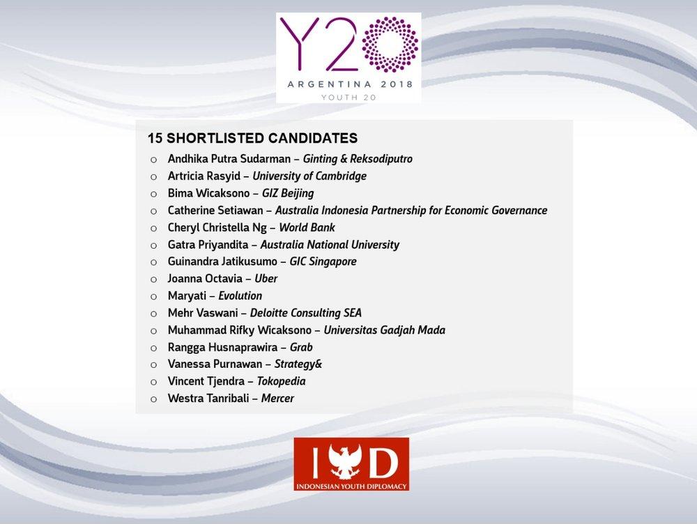 Shortlisted Candidates 2018