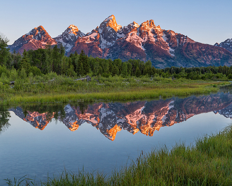 Sunrise on Teton Range at Schwabacher Landing, Wyoming