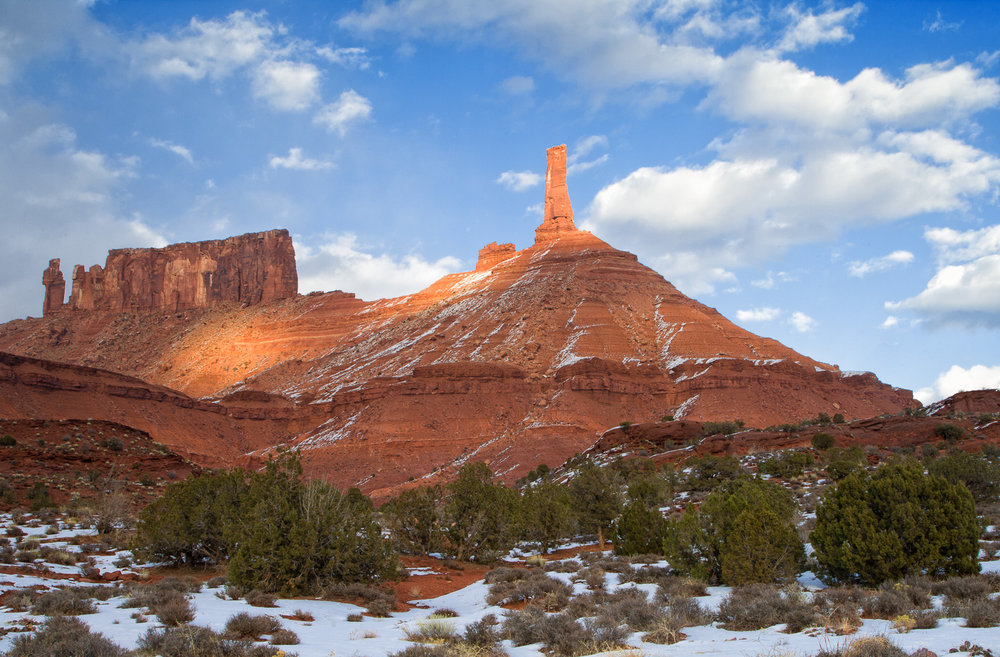 Castle Tower and Clearing Winter Storm, Utah