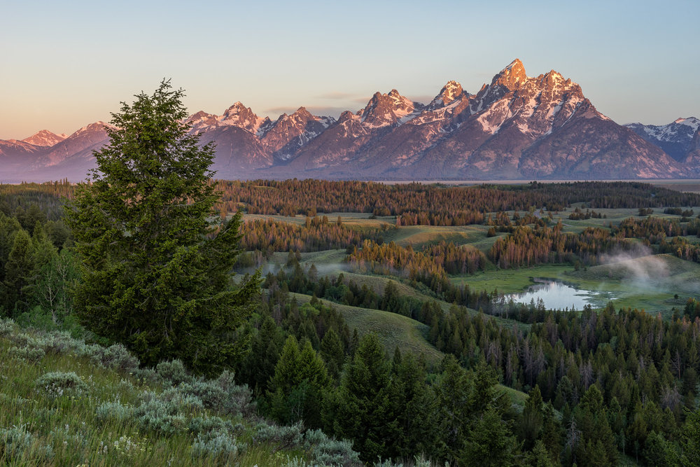 Sunrise on the Teton Range from Hedrick Pond Overlook, Grand Teton National Park
