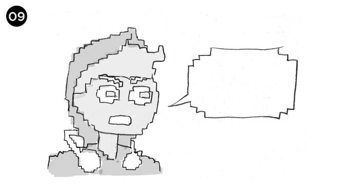 vemos al chico como si fuese un personaje de 8bits en un clasico dialogo de videojuego ochentero, esta increpando al alien que le quitó su helado. !DEVUELVEMELO!