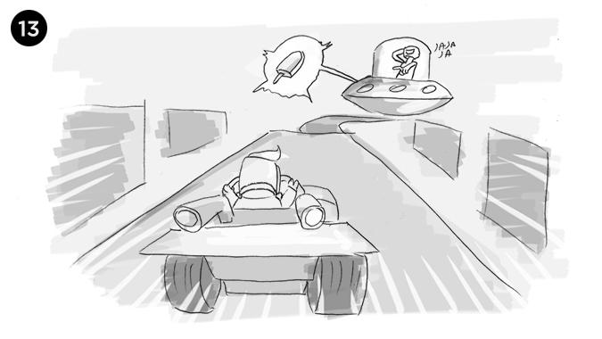 la camara se quiebra y descubrimos que este mundo que parecia 2D es en realidad un mundo 3D al mejor estilo de Mario Kart